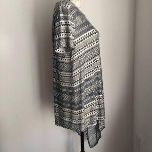Cato Tops - CATO | Black & White Asymmetrical Shirt